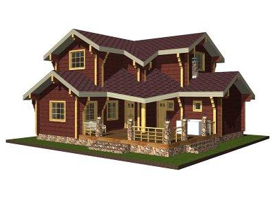 Дървени къщи двуетажни